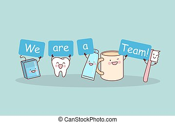 We are a team - cute cartoon tooth with floss, brush and...
