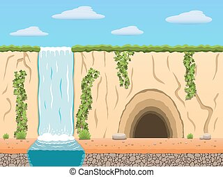 Colorful game background. - Cartoon diggers black...