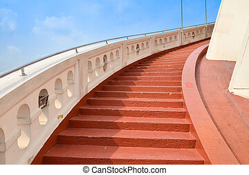 Red concrete stair