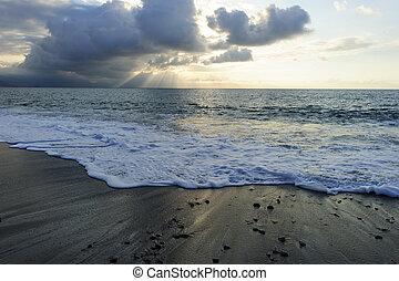 Ocean Sunset Sun Rays - Ocean sunset sun rays is an ominous...