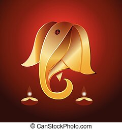 Ganesha in gold. - Ganesha or Ganesh with lamps or diyas.
