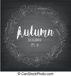 Autumnal round frame written - Vector illustration of...
