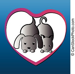 Cat dog love heart background