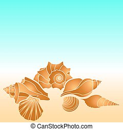 Vector sea shells. Hand paint starfish, scallop, shell, conch, mollusk. Summer holidays design elements.