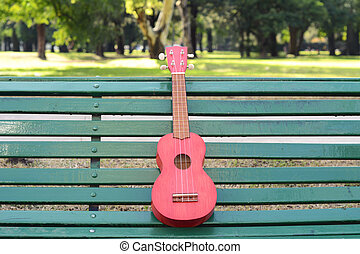 A ukulele on a park bench. Outdoors.