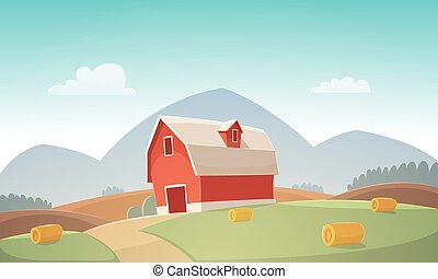 Farm Landscape - Mountain countryside landscape with red...