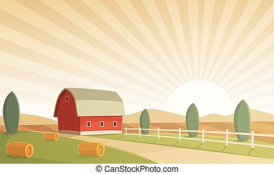 Farm Landscape - Red farm barn at sunset, countryside...