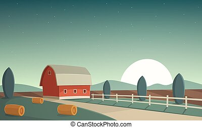 Night Farm Landscape - Red farm barn at night, countryside...