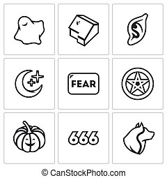 Vector Set of Fear Icons. Ghost, House, Vampire, Night,...