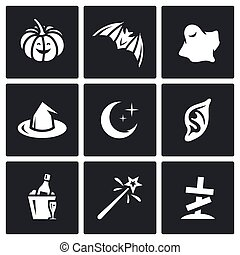 Vector Set of Halloween Icons. Pumpkin, bat, ghost, witch, night, vampire, party, magic, cemetery.