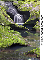 Upper Robinson Falls - A small waterfall flows through...