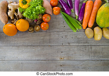 organic food on a Wooden background