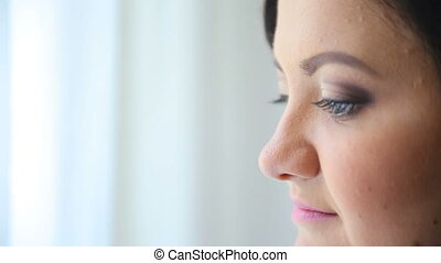 girl looking straight ahead close up HD