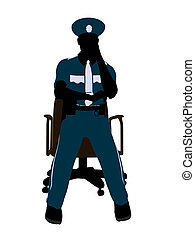 Male Police Officer Sitting In A Chair Illustration...