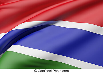 Gambia flag waving - 3d rendering of Gambia flag waving