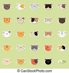 Cute cats Faces - abstract cute cats faces on a green...