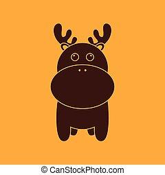 Cute deer silhouette - abstract cute deer silhouette on a...