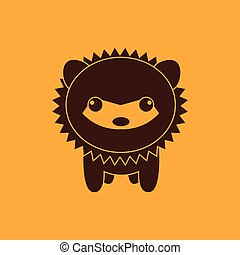 Cute porcupine silhouette - abstract cute porcupine...