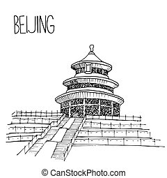 Hand drawn Temple of Heaven