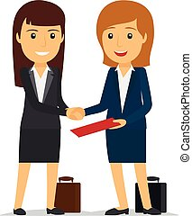 Business women shaking hands and smiling. Vector...