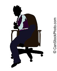 African American School Girl Sitting In A Chair Silhouette -...