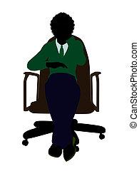 African American School Boy Sitting In A Chair Silhouette -...
