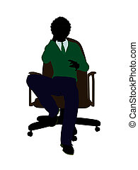 African American School Boy Sitting In A Chair Silhouette -...