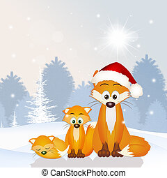 red fox family at Christmas hat - illustration of red fox...