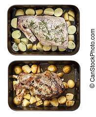 Leg of Lamb with Potatoes and Rosemary Raw and Roasted Top View