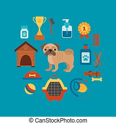 Pet training concept with dog care elements Pet training:...