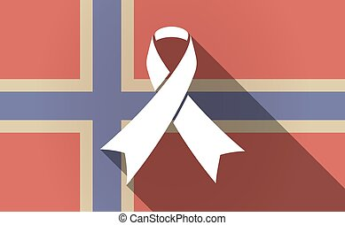 Long shadow Norway flag with an awareness ribbon