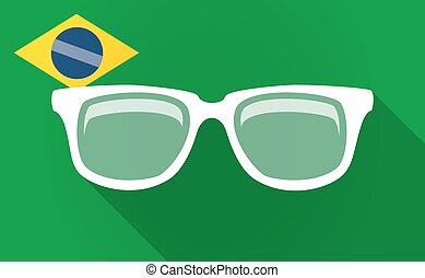 Long shadow Bazil flag with a glasses - Illustration of a...