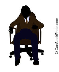 School Boy Sitting In A Chair Silhouette - School boy...