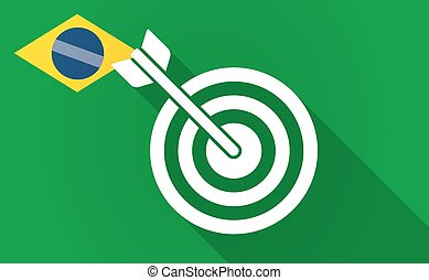 Long shadow Bazil flag with a dart board - Illustration of a...