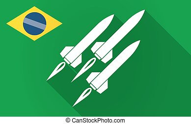 Long shadow Bazil flag with missiles - Illustration of a...