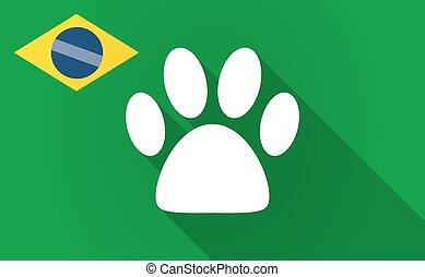 Long shadow Bazil flag with an animal footprint