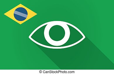 Long shadow Bazil flag with an eye - Illustration of a long...