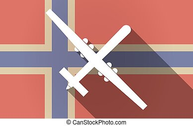 Long shadow Norway flag with a war drone - Illustration of a...