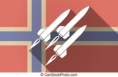 Long shadow Norway flag with missiles - Illustration of a...
