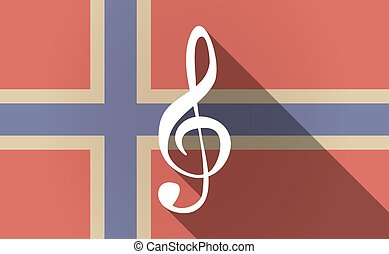 Long shadow Norway flag with a g clef - Illustration of a...
