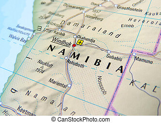 Map of Windhoek, Namibia.