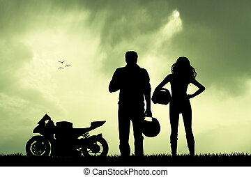 illustration of motorcyclist - couple of motorcyclist