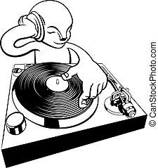 DJ on turntable decks
