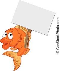 Cartoon Goldfish Holding Sign - A cartoon goldfish character...