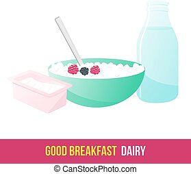 breakfast. 1205. elements. 08 - Vector flat and line icon...