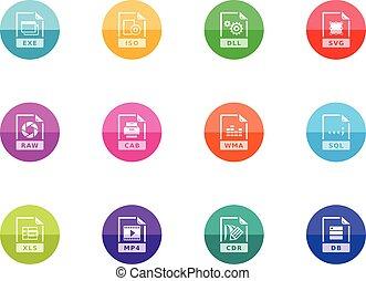 14, iconen,  -, bestand, formaten, cirkel