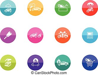 Circle Icons - Auto Insurance - Car insurance icons in color...