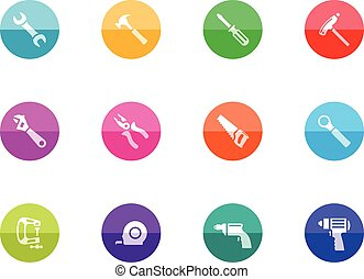 Circle Icons - Hand Tools - Hand tools icon series in color...