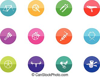 Circle Icons - Bicycle Parts - Bicycle part icons series in...