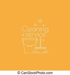 Logo cleaning service with broom and bucket Linear icon Thin...